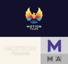 Motion Trade designed by Bratus #motion trade #colorful #logo trend 2015 #custom typeface #logo grid sytem #logo construction #bird logo #ea