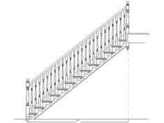 CAD drawing of a standard staircase with spindles. #diagram #stairs #drawing