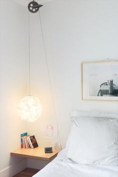 Thibault-clothesline-pulley-bedside-light.jpg (428×642) #white #roller #modern #pendant #pulley #industrial #wire #light