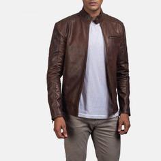 Brown Leather jacket, men fashion