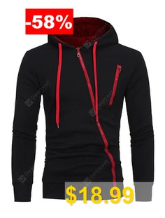 Men #Unique #Diagonal #zipper #Slim #Soft #Hoodie #- #BLACK