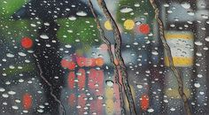 Rainscapes: Hyperrealistic Rainy Windshield Drawings by Elizabeth Patterson #water #droplets #windshield #illustration #rain #dripping #drawing #drops