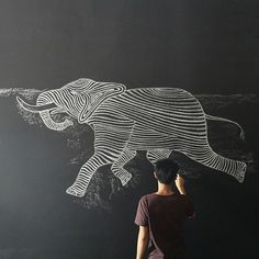 A well traveled woman #drawing #chalk #elephant #illustration #animal #sketch