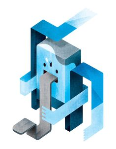 illustration by carlo giovani #blue #illustration #character #geometric