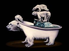 Jacub Gagnon and his polar bears in animal art #surrealism #realism #painting #paintings #art #animal