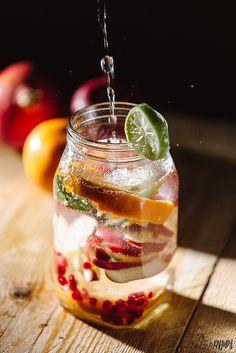 Orange-Apple-Pomegranate Infused Detox Water #rahullalphotography #AppyBistro #DetoxWater #FoodPhotography