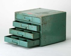 Vintage Industrial Green Parts cabinet #supplies #office #cabinet