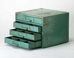 Vintage Industrial Green Parts cabinet