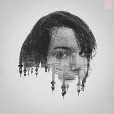 People and places combined #mysterious #white #gothic #black #portrait #vintage #and #face #sad #dark #female