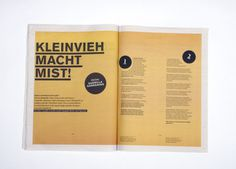 kleinvieh on Editorial Design Served #newsprint #format #print #large #typography