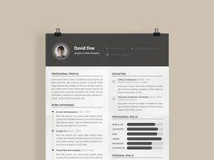 David Resume - Free Clean and Minimal PSD Resume Template