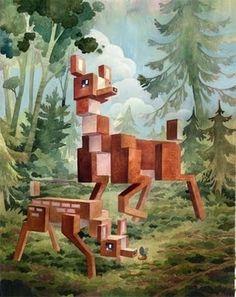 The Collective Loop #deer #pixelated #llaura #painting #bifano