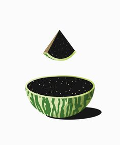 space watermelon #fruit #space #illustration #star #watermelon