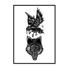 ROWN • Crow & Wolf screenprint / Yatagarasu & Grim
