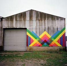 Maya Hayuk Barn Piece (2008) #wall #color #art #street