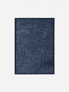 book cover, cityscape in lines