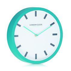 London Clock Company 'POP' Wall Clock Teal, 25cm x 4cm