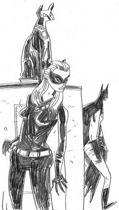 Catwoman Hiding from Batman Sketch | Flickr - Photo Sharing! #catwoman #jwc #batman #illustration #cartoon