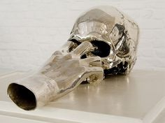 Jan Van Oostnca | nichido contemporary art #sculpture #art #metal #skull #hand