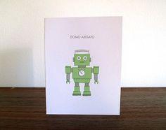 Domo Arigato Letterpress Card by luludee on Etsy #robot #letterpress #green