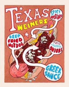 Hot Dog Of The Week: Texas Weiners | Serious Eats #typography #food #hot #illustration #dog