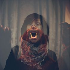 Fear Meeting | Flickr - Photo Sharing! #teeth #grizzly #roar #girl #scary #photo #jaws #photography #portrait #manipulation #reflection #bear #collage #mouth