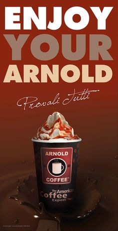 Advertising #coffe #beverage #syrup #arnold #cream #american #food #sweet #chocolate #enjoy #milk