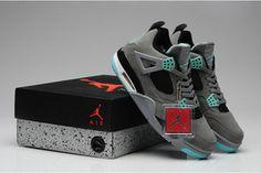 Jordan Retro 4 Mens Suede Sneakers: Dark Grey & Green Glow/Cement Grey & Black - Release #shoes