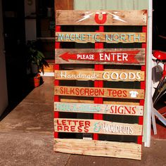 Magnetic North Pallet Sign #lettering #north #sign #magnetic #painting #type #typography