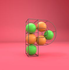 P - Gym ball cage #lettering #cgi #design #poster #3d #typography