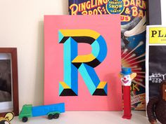 Chiseled R by Chris Rushing #chiseled pop colorful bright modern slabserif