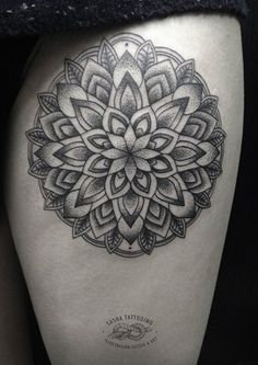 Thigh Mandala Tattoo