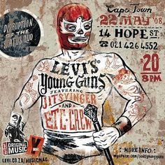 levis young guns web pic.jpg 581×581 pixels #illustration #tattoo #luchadore #wrestler