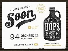 Dribbble - Top Hops - Coming Soon by Renee Fernandez #sign #lettering #script