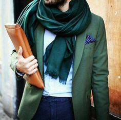 All Things Stylish #scarf #blazer #green
