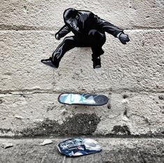 Tiny Wooden Figures Street Art #skateboarding #art #street