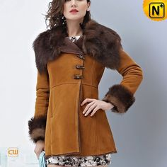Ladies Winter Long Shearling Coat CW644133 #long #shearling #coat