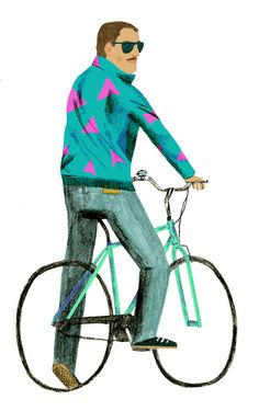 80s shell suit jacket guy on a bike. #bicycle #pattern #illustration #jacket