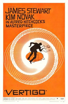 Vertigo film poster vintage orange