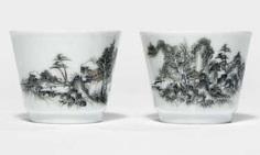 Some of the fine Grisaille-wine Cup made of porcelain with landscape decor #Sets #Teasets #Porcelainsets #Antiqueplates #Plates #Wallplates #Figures #Porcelainfigurines #porcelain