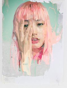 Poly portraits on Behance https://www.behance.net/digitaljacklight #pink #drawing #girl #poly