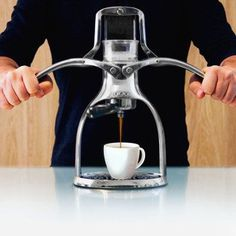Make great espresso manually using pressure applied with your hands. #lifestyle #design #espresso #product #industrial