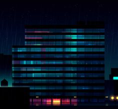 Amazing Night City Vector Illustrations by Romain Trystram - Reflections Made