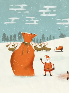 #illustration #santa #christmas #reindeer #character