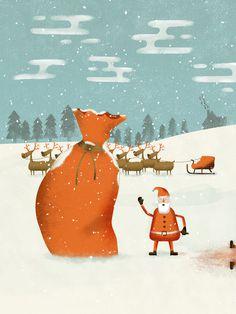 #illustration #santa #christmas #reindeer #character