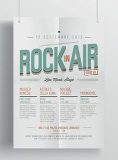 Rock In Air on the Behance Network #festival #rock #direction #vintage #art #layout #typography