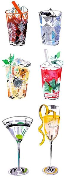 Cocktails Illustration, love these! #abstract #marker #drink #alcohol #colorful #cocktail #pencil #party