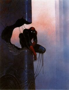 this isn't happiness™ (Spidey, Moebius), Peteski #slime #spiderman #illustration #shadow #column