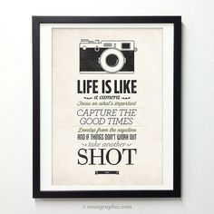 Life Is Like A Camera - Vintage Style Typography Inspirational Quote Poster