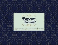 Tempestt - details #business #card #orange #mint #vintage #type #blue